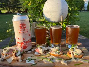 Lot 10 Brewing Thirsty Soldier & Beef Crustini with Horseradish & Dijon